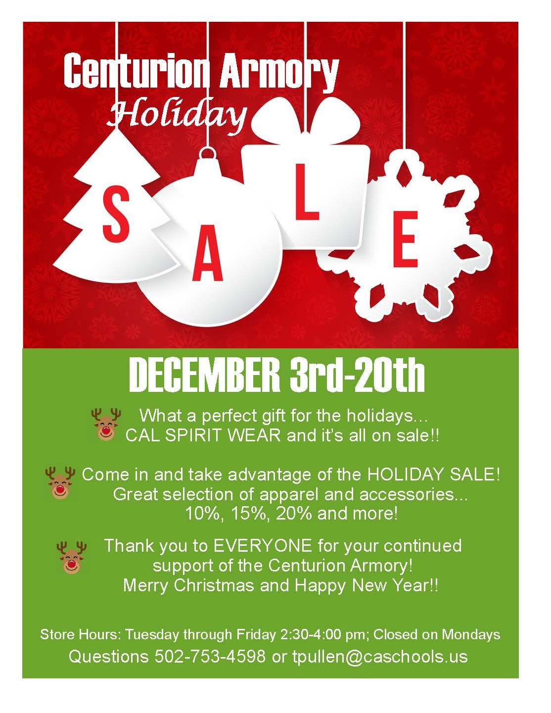 Christian Academy School System | Christian Academy of Louisville | Centurion Armory Holiday Sale | December 3-20