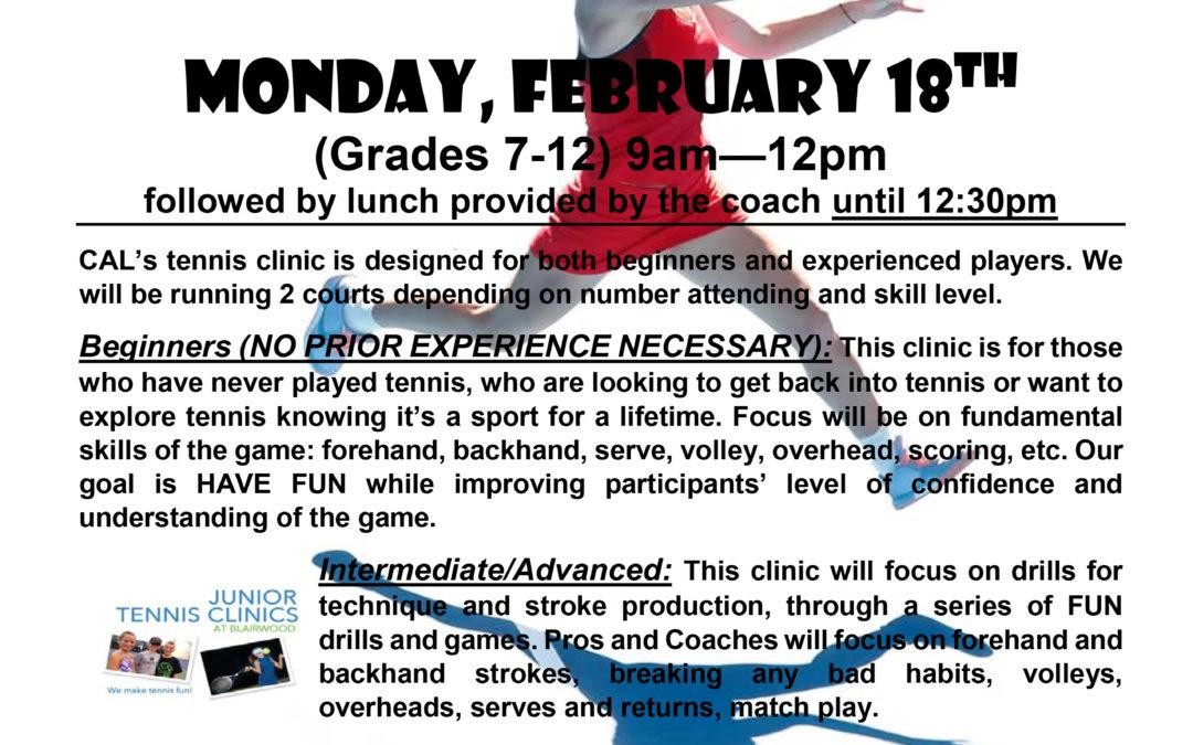 Lady Centurion Tennis to Host Clinic Feb. 18th