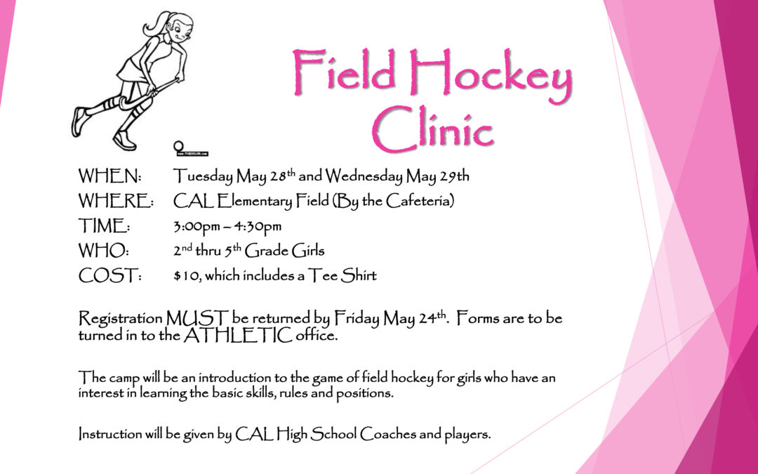 Field Hockey Camp for Girls, 2nd-5th, Set for May 28-29
