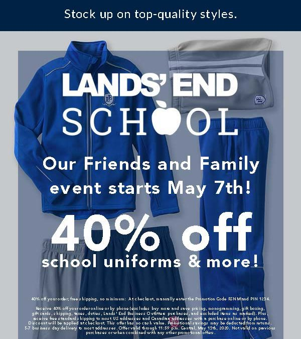 Lands' End Friends and Family Event – 40% Off School Uniforms and More!