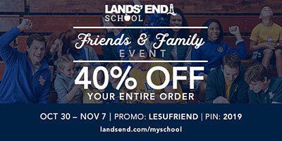 40% OFF Your Entire Order Lands' End Friends an Family Event, October 30 – November 7